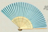 light blue silk fan wedding fav