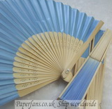 blue silk fan cheap wedding fav