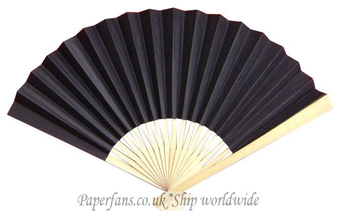 black paper fan reception wedding decor