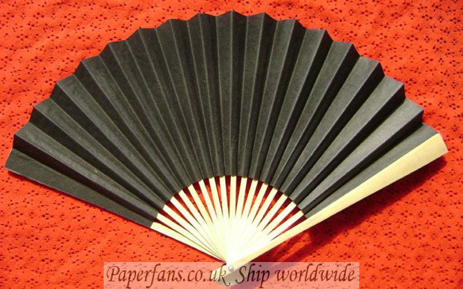 black paper fan reception wedding decor-