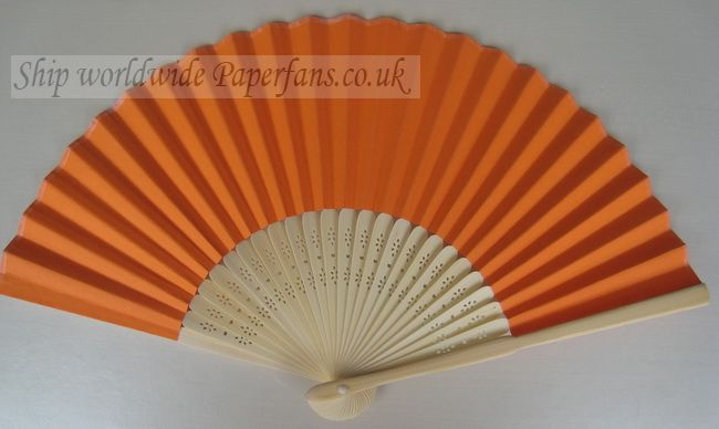 orange paper fan reception wedding decor