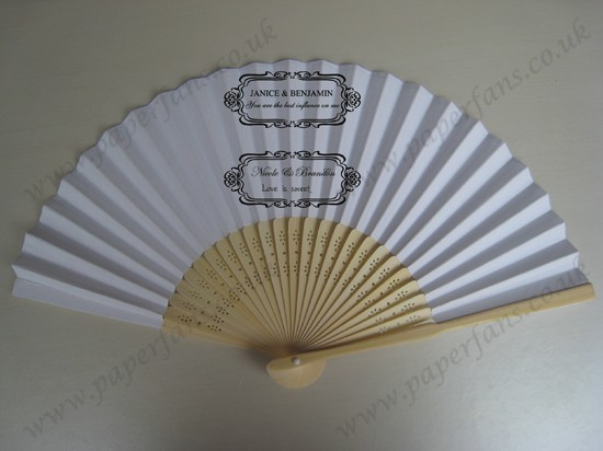 Folding bamboo wedding fan personalized