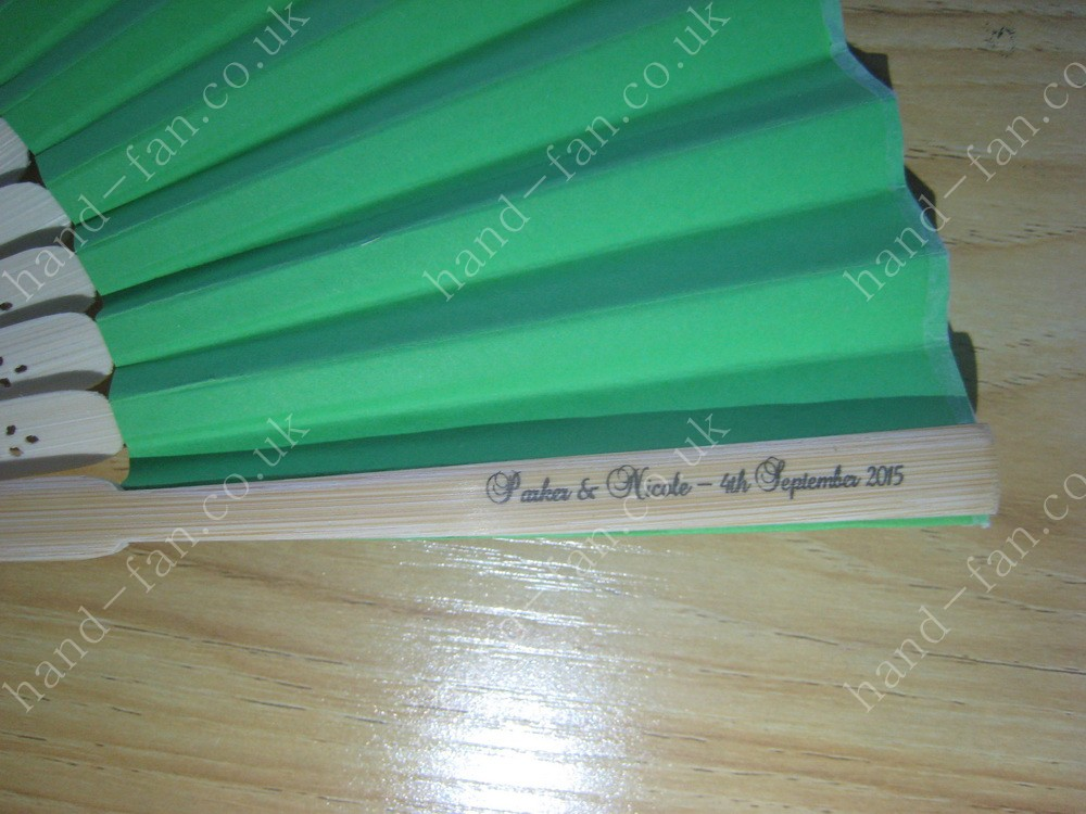 personalised green paper fan printng name dates on handle
